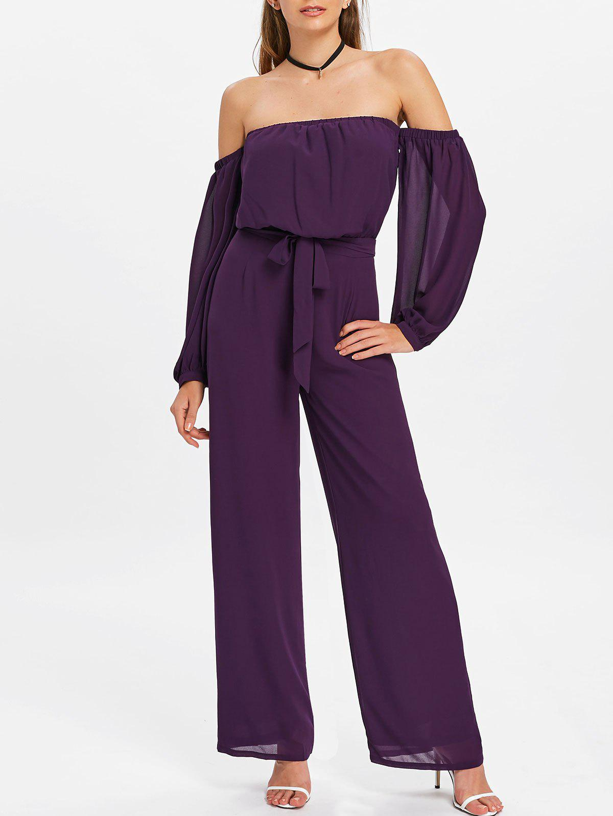 Off Shoulder Palazzo Jumpsuit - PURPLE IRIS M