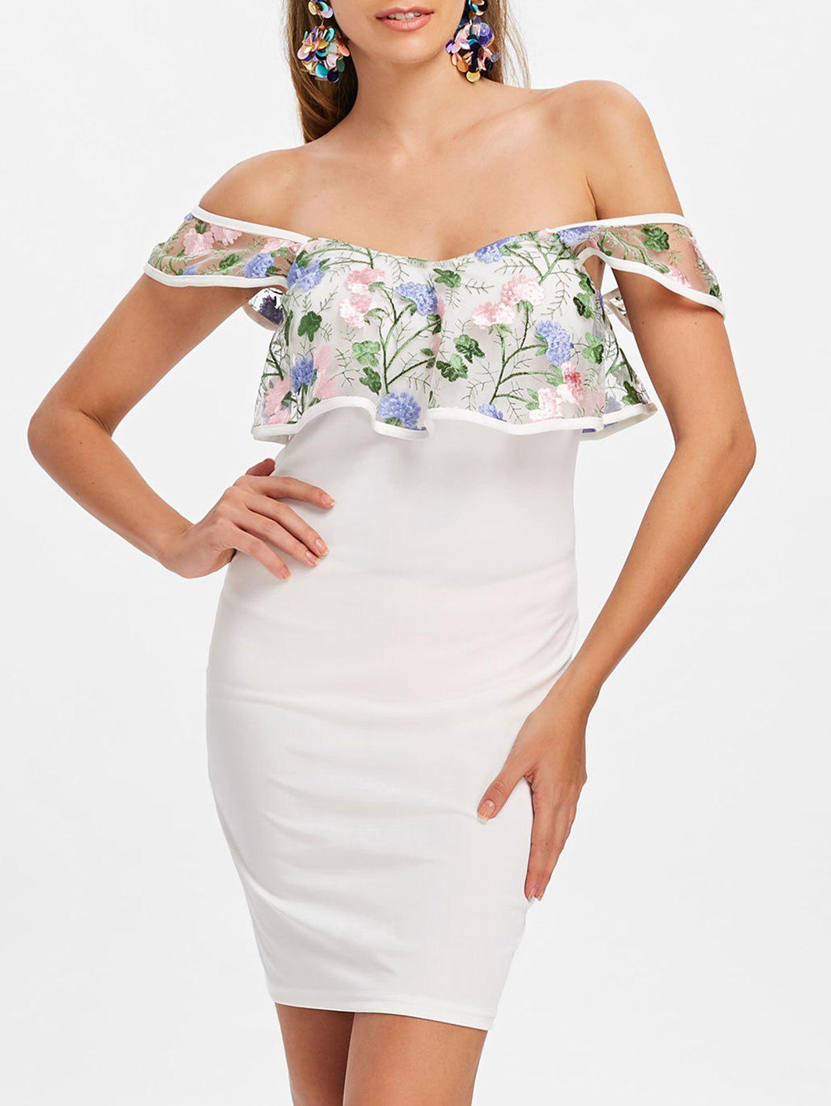 Floral Embroidery Flounce Off Shoulder Dress - MILK WHITE M