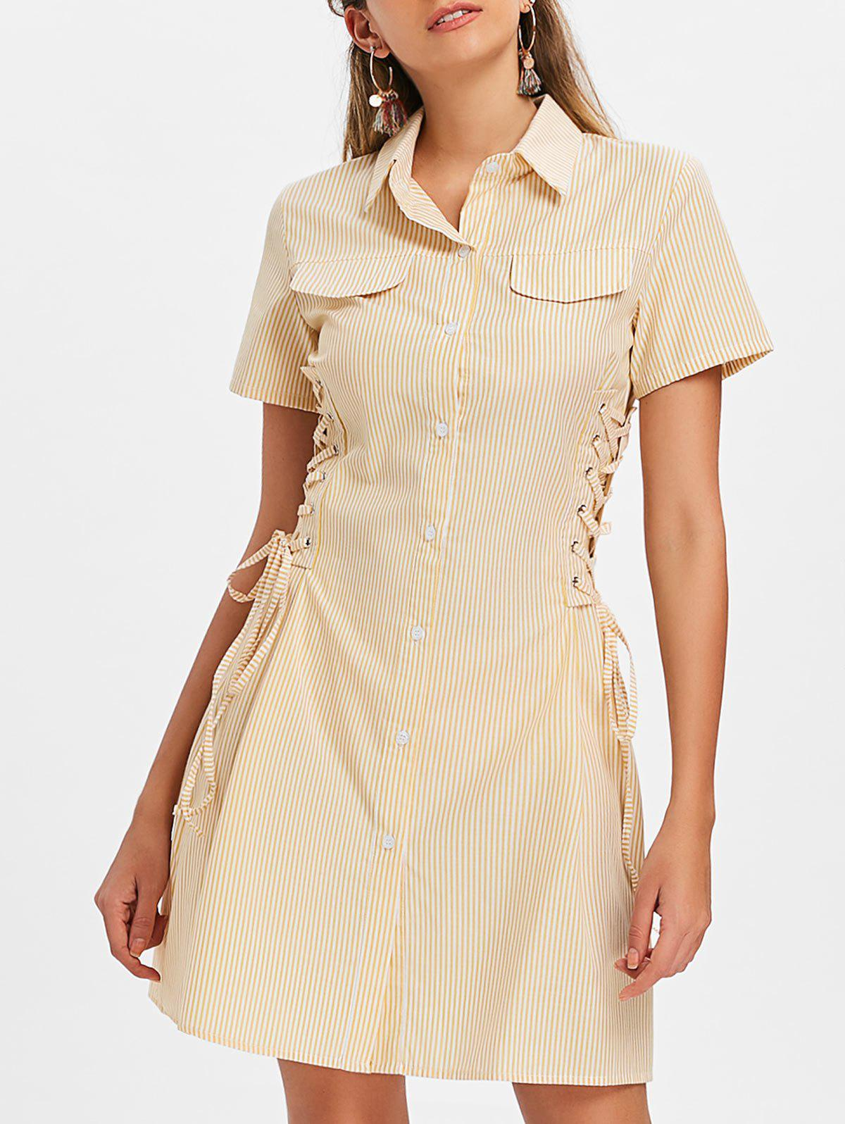 Striped Double Lace-up Casual Dress - YELLOW M