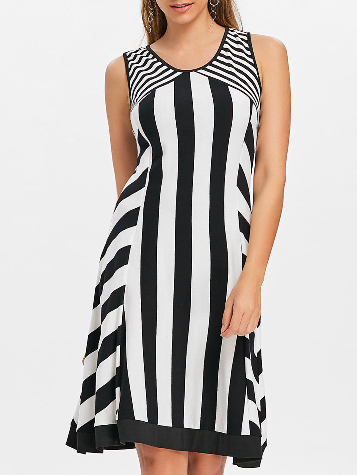 Open Back Striped Knee Length Dress - multicolor S