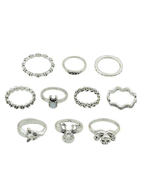 Anime Heads and Skulls Patterned Finger Ring Set - SILVER ONE-SIZE