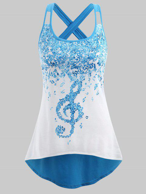 Plus Size Musical Notes Criss Cross Tank Top - BUTTERFLY BLUE 3X