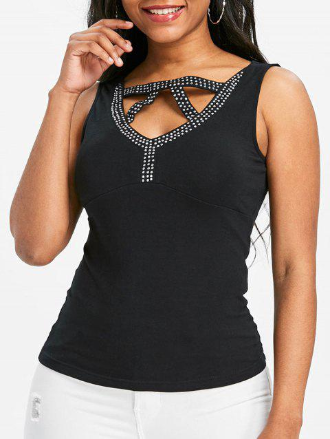 Cut Out Beading Fitted Tank Top - BLACK L