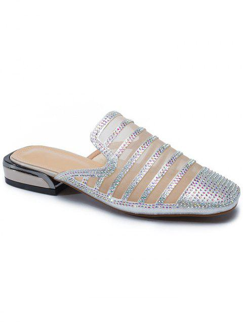 Faux Crystal Decorate Breathable Mesh Slippers - SILVER 37