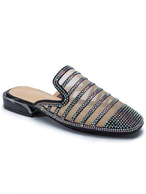 Faux Crystal Decorate Breathable Mesh Slippers - BLACK 39