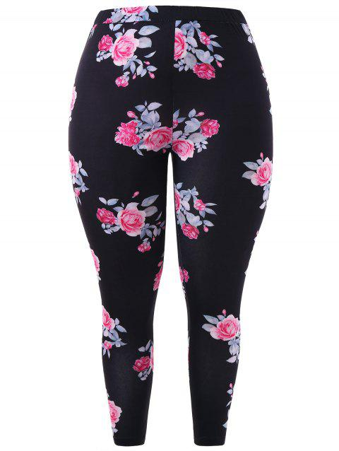Plus Size Floral Leggings - BLACK 2X
