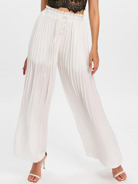 High Rise Drawstring Palazzo Pants - WHITE M