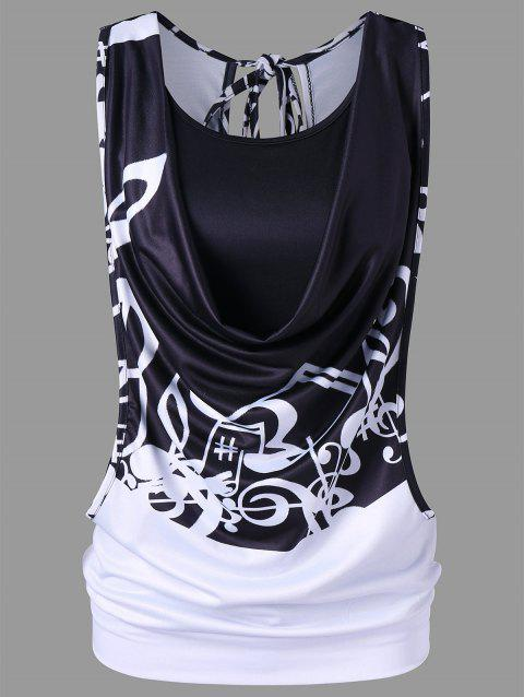 Cowl Neck Music Note Tank Top with Camisole - multicolor M