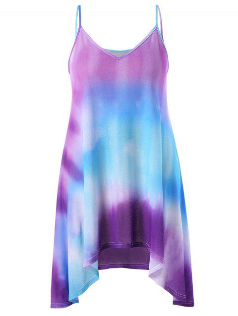 Plus Size Tie Dye Crescent Hem Slip Dress - multicolor 3X