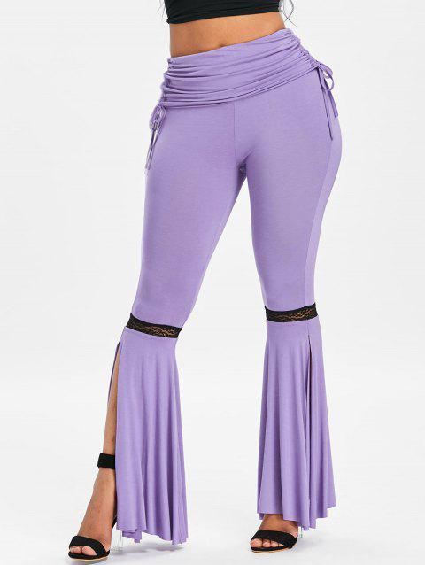 High Rise Side Slit Ruched Flare Pants - PURPLE L