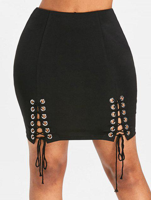Lace Up Invisible Back Zip Mini Skirt - BLACK M