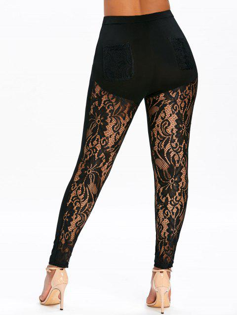Sheer Lace Panel High Waisted Leggings - BLACK L