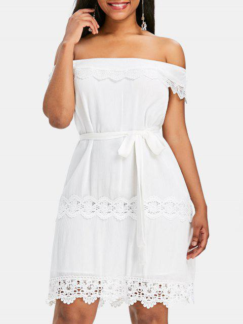 Off Shoulder Lace Insert Mini Dress - WHITE 2XL