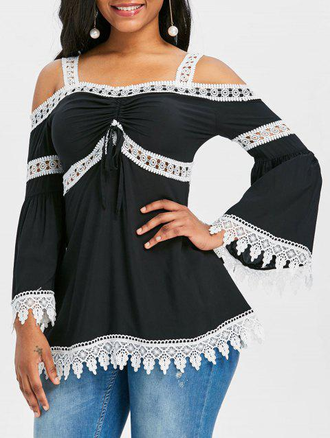 Bell Sleeve Lace Trim Open Shoulder Blouse - BLACK M