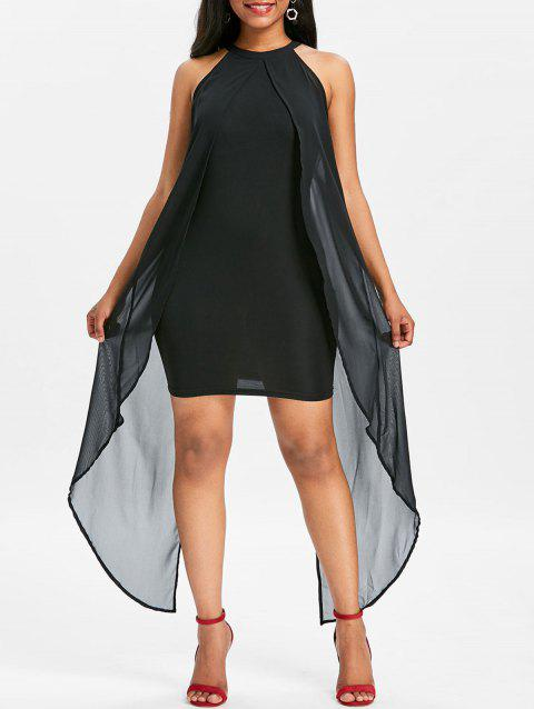 Sleeveless Chiffon Panel Dress - BLACK L