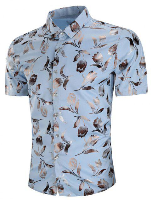 Short Sleeve Allover Rose Print Casual Shirt - SKY BLUE 3XL