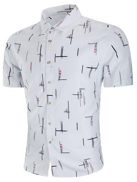 Short Sleeve Letter Vertical Line Print Casual Shirt - WHITE 4XL