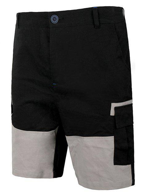Flap Pocket Panel Two Tone Casual Shorts - GRAY 2XL
