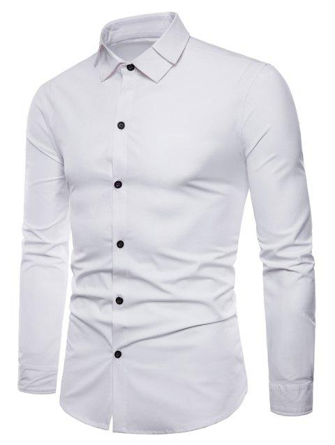 Button Up Double Collar Long Sleeve Shirt - WHITE M