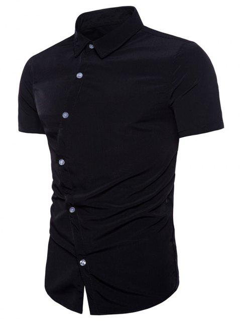 Irregular Placket Turndown Collar Shirt - BLACK L