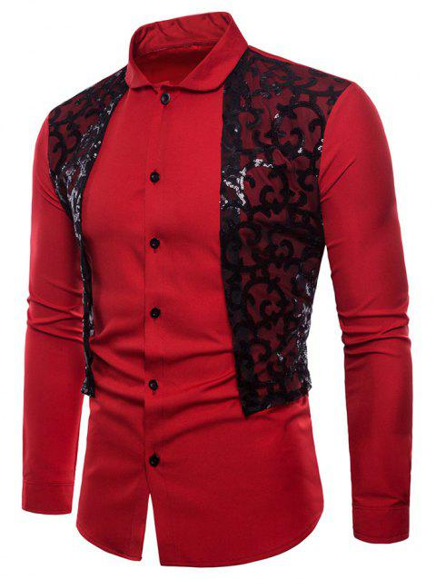 Vintage Paillette Lace Embellished Button Up Shirt - RED M