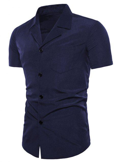 Camp Collar Shirt with Pocket - NAVY BLUE M