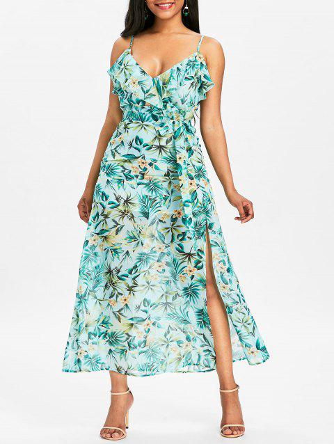 Spaghetti Strap Floral High Slit Maxi Dress - LIGHT SEA GREEN XL