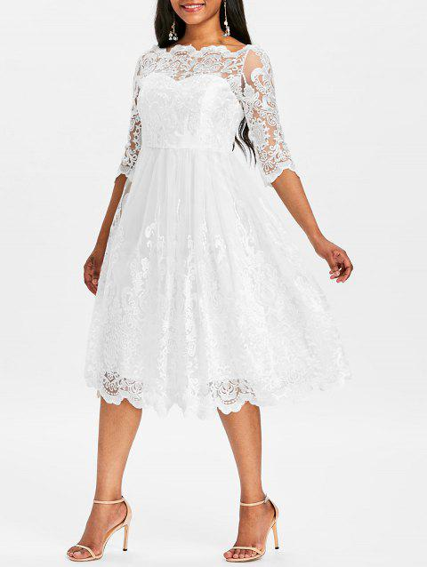 Boat Neckline Wedding Lace Dress - WHITE L