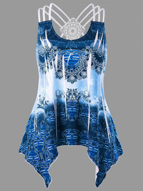 Plus Size Tribal Print Strappy Handkerchief Tank Top - ROYAL BLUE L