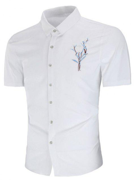 Turn Down Collar Embroidery Flower Shirt - WHITE 2XL