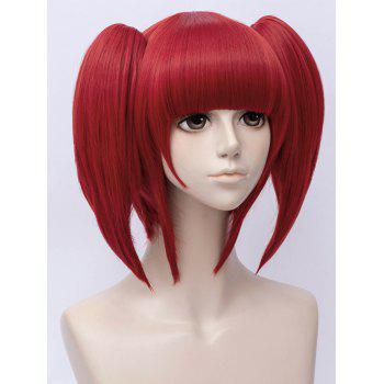 Short Neat Bang Straight Two Ponytails Anime Land of the Lustrous Red Beryl Cosplay Synthetic Wig - CHESTNUT RED