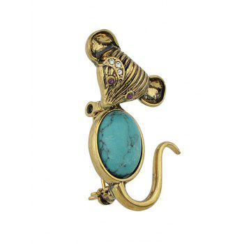 Faux Turquoise Mouse Brooch Jewelry - GOLD