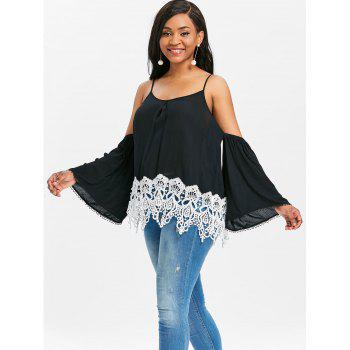 Crochet Trim Shoulder Cut Blouse - BLACK M