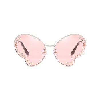 UV Protection Metal Beads Decorative Butterfly Sunglasses - PIG PINK