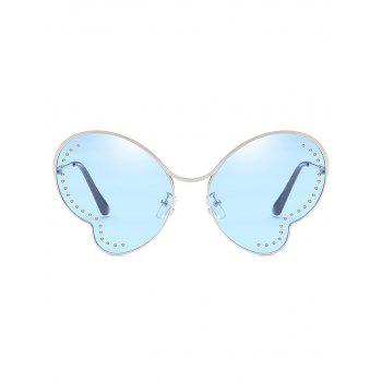 UV Protection Metal Beads Decorative Butterfly Sunglasses - JEANS BLUE