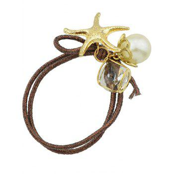 Cute Starfish Faux Pearl Ponytail Elastic Band - BROWN