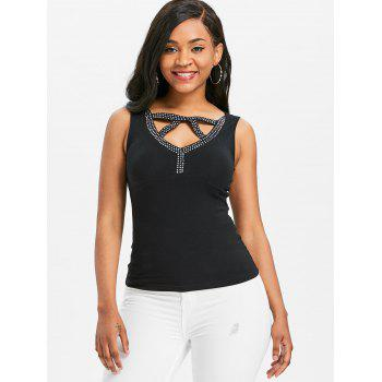 Cut Out Beading Fitted Tank Top - BLACK M