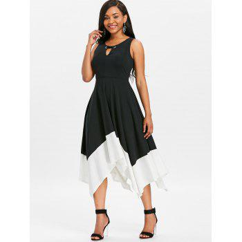Keyhole Two Tone Midi Handkerchief Dress - BLACK M