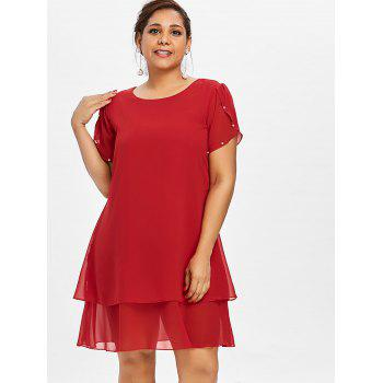 Plus Size Overlay Butterfly Sleeve Dress - RED 5X