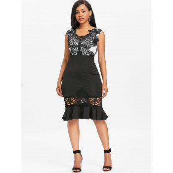 Crochet Lace Sleeveless Mermaid Dress - BLACK XL