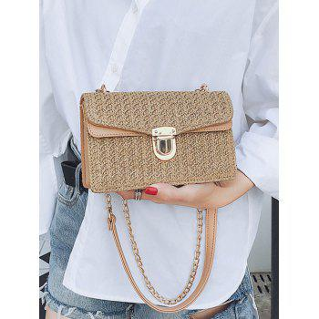 Vintage Straw Color Striped Crossbody Chain Bag -