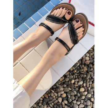 Clip Toe Straps Leaf Decorate Sandals - BLACK 36