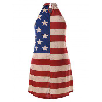 Plus Size American Flag Print Dress - multicolor L