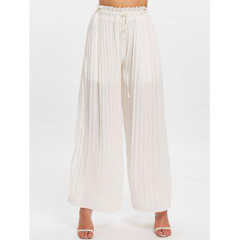 High Rise Drawstring Palazzo Pants - WHITE 2XL