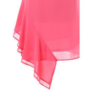 Asymmetrical Chiffon Slip Dress - DEEP PINK M