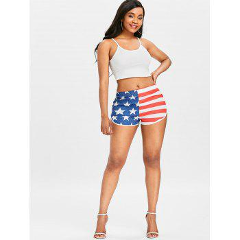 American Flag Workout Shorts - FIRE ENGINE RED M