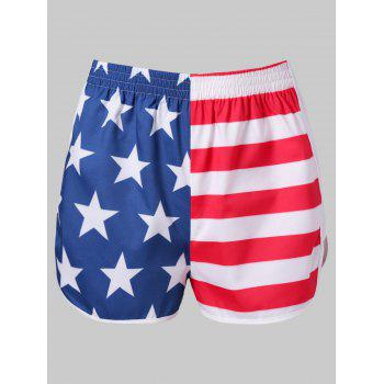 American Flag Workout Shorts - FIRE ENGINE RED L