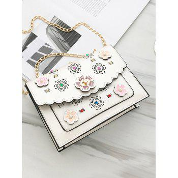 Hollow Out 3D Floral Detail Shoulder Bag - WHITE