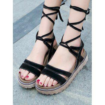 Lace Up Low Heel Casual Sandals - BLACK 38