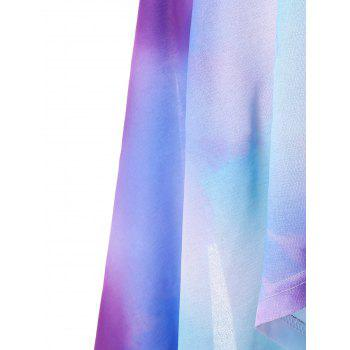 Plus Size Tie Dye Crescent Hem Slip Dress - multicolor L